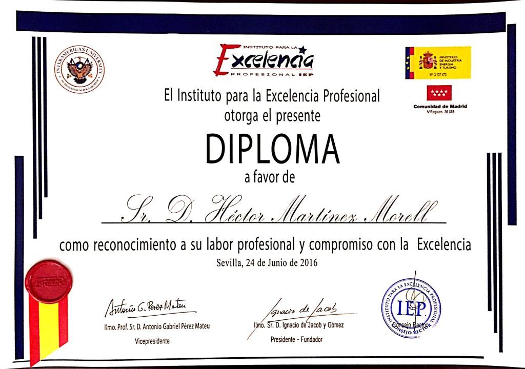Diploma Excelencia Profesional Hector M. Morell